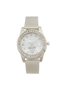 Glitter Heart Face Metal Mesh Watch - 3140072698722