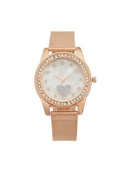 Glitter Heart Face Metal Mesh Watch - 3140072698722