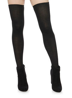 Thigh High Socks in Striped Knit - BLACK - 3148041450659