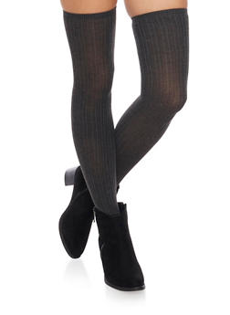 Thigh High Socks in Striped Knit - CHARCOAL - 3148041450659