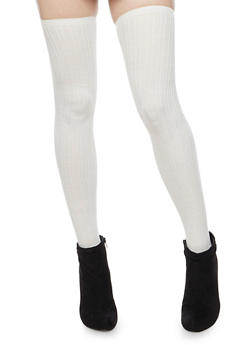 Thigh High Socks in Striped Knit - IVORY - 3148041450659