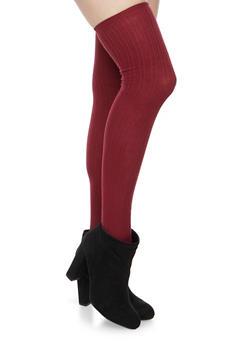Thigh High Socks in Striped Knit - BURGUNDY - 3148041450659