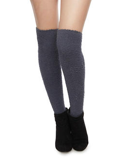 Plush Thigh High Socks - CHARCOAL - 3148041450663