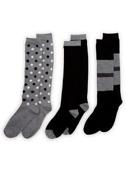 3 Pack of Printed Tube Socks - BLACK - 3148041451603