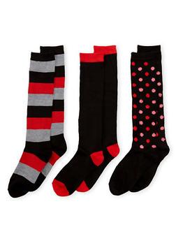 3 Pack of Printed Tube Socks - BLACK/RED - 3148041451603