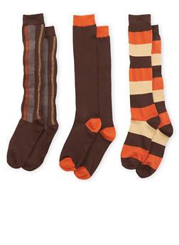3 Pack of Tube Socks - BROWN - 3148041451606