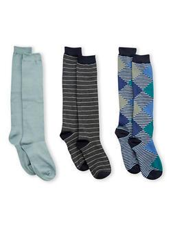 Set of 3 Knee High Socks - CHARCOAL - 3148041451701