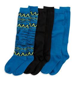 Set of 3 Mid Calf Socks - TEAL - 3148041451703