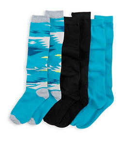 Set of 3 Mid Calf Socks - BLUE - 3148041451703