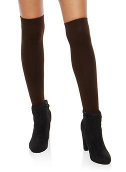 2 Pack Fleece Lined Over the Knee Socks - BROWN - 3148068061110