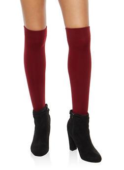 2 Pack Fleece Lined Over the Knee Socks - BURGUNDY - 3148068061110