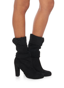 Knit Boot Cuffs with Bow Accents - BLACK - 3149068060101