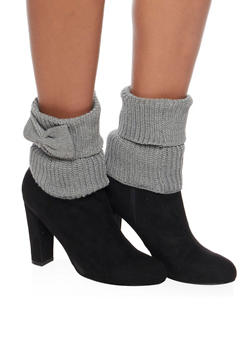 Knit Boot Cuffs with Bow Accents - GRAY - 3149068060101