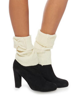 Knit Boot Cuffs with Bow Accents - IVORY - 3149068060101