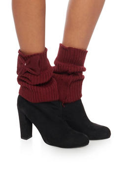 Knit Boot Cuffs with Bow Accents - 3149068060101