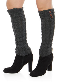 Cable Knit Leg Warmers with Button Detail - CHARCOAL - 3149068060473