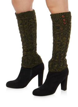 Cable Knit Leg Warmers with Button Detail - HUNTER - 3149068060473