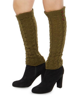 Cable Knit Leg Warmers with Button Detail - OLIVE - 3149068060473