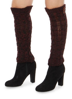 Cable Knit Leg Warmers with Button Detail - BURGUNDY - 3149068060473