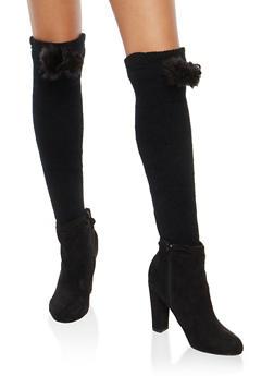 Pom Pom Leg Warmers - BLACK - 3149068060555
