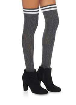 Knit Over the Knee Varsity Socks - CHARCOAL - 3149068061103