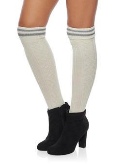 Knit Over the Knee Varsity Socks - IVORY - 3149068061103