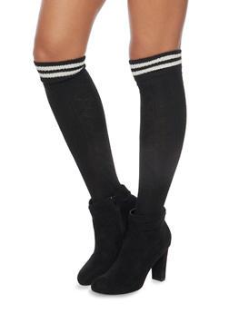 Knit Over the Knee Varsity Socks - BLACK/WHITE - 3149068061103