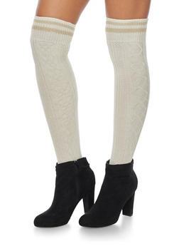 Knit Over the Knee Varsity Socks - KHAKI - 3149068061103