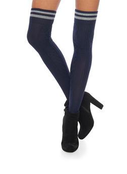 Knit Over the Knee Varsity Socks - NAVY - 3149068061103