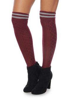 Knit Over the Knee Varsity Socks - BURGUNDY - 3149068061103