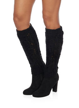 Leg Warmers with Shimmer Knit - BLACK - 3149068061105