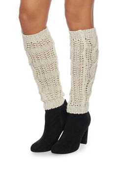 Leg Warmers with Shimmer Knit - WHITE - 3149068061105