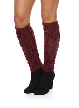 Leg Warmers with Shimmer Knit - BURGUNDY - 3149068061105
