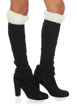 Rib Knit Leg Warmers with Faux Fur Cuffs - WHITE - 3149068061108