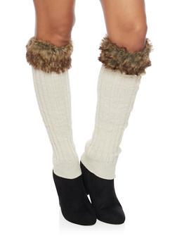 Rib Knit Leg Warmers with Faux Fur Cuffs - IVORY - 3149068061108