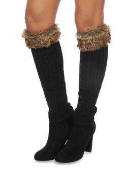 Rib Knit Leg Warmers with Faux Fur Cuffs - 3149068061108