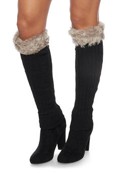 Rib Knit Leg Warmers with Faux Fur Cuffs - 3149068061108