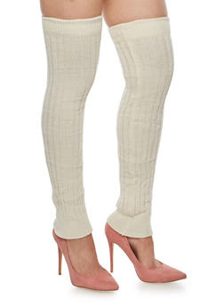 Over the Knee Knit Leg Warmers - IVORY - 3149068062244