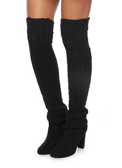 Rib Knit Over the Knee Leg Warmers - 3149068064410