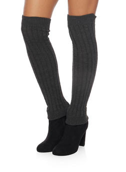 Rib Knit Over the Knee Leg Warmers - CHARCOAL - 3149068064410