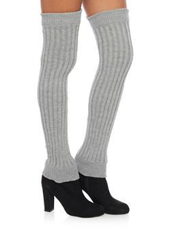 Rib Knit Over the Knee Leg Warmers - GRAY - 3149068064410