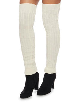 Rib Knit Over the Knee Leg Warmers - IVORY - 3149068064410