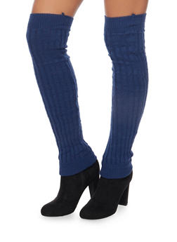 Rib Knit Over the Knee Leg Warmers - NAVY - 3149068064410