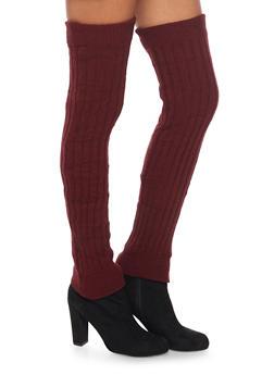 Rib Knit Over the Knee Leg Warmers - BURGUNDY - 3149068064410