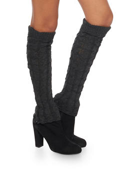 Cable Knit Leg Warmers with Button Cuffs - CHARCOAL - 3149068064472