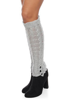 Cable Knit Leg Warmers with Button Cuffs - GRAY - 3149068064472