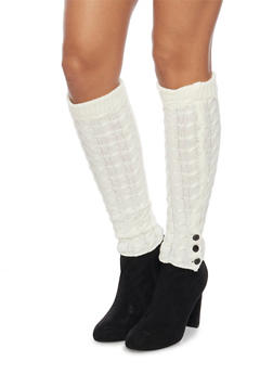 Cable Knit Leg Warmers with Button Cuffs - IVORY - 3149068064472