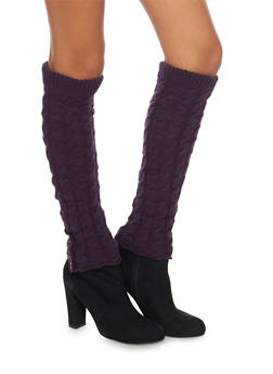 Cable Knit Leg Warmers with Button Cuffs - 3149068064472