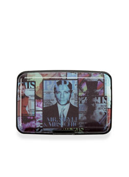 Card Holder Wallet with Magazine Cover Print - 3163067440226