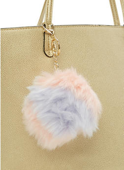 Color Block Pom Pom Key Chain - 3163067440607